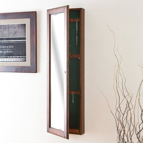 Wall-Mount Jewelry Mirror Brown Walnut