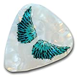 """Unique and Custom """".76 mm Thick - Medium Gauge Hard Plastic - Round Tip"""" Guitar Pick w/ Simple Feather Angel Wings on Pearl Texture {Black, Blue & White - 12 Picks Dozen Bulk Multipack}"""
