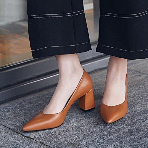 AJUNR 38 tacchi Sandali calzature caramello Moda Alla 7cm 39 Donna tacchi V teste ruvida Da parole barzellette appuntite alti femminili colori rrqzHC