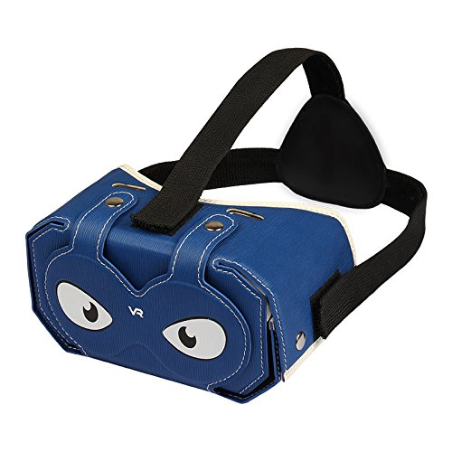 Julyfox 4.05oz Lightweight Foldable PU leather DIY VR Headset V2 Virtual Reality Box 3D Glass For 4-6 inch Smartphones?Blue?