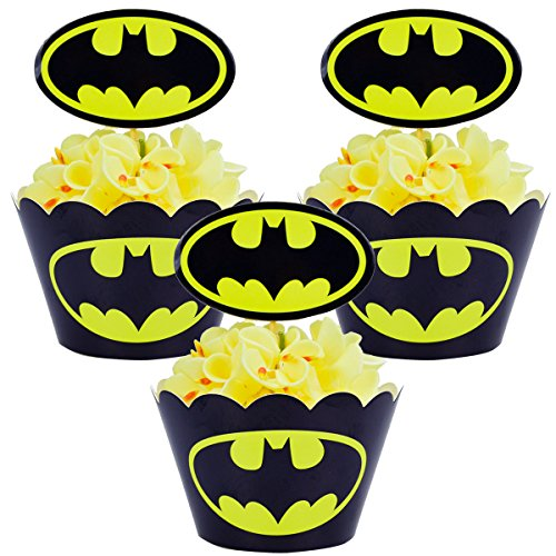 Betop House Set of 12 Pieces Batman Super Heros Themed Party Kids Birthday Baby Shower Cake and Cupcake Decorative Topper Wrappers Kit Party Supplies by BETOP HOUSE