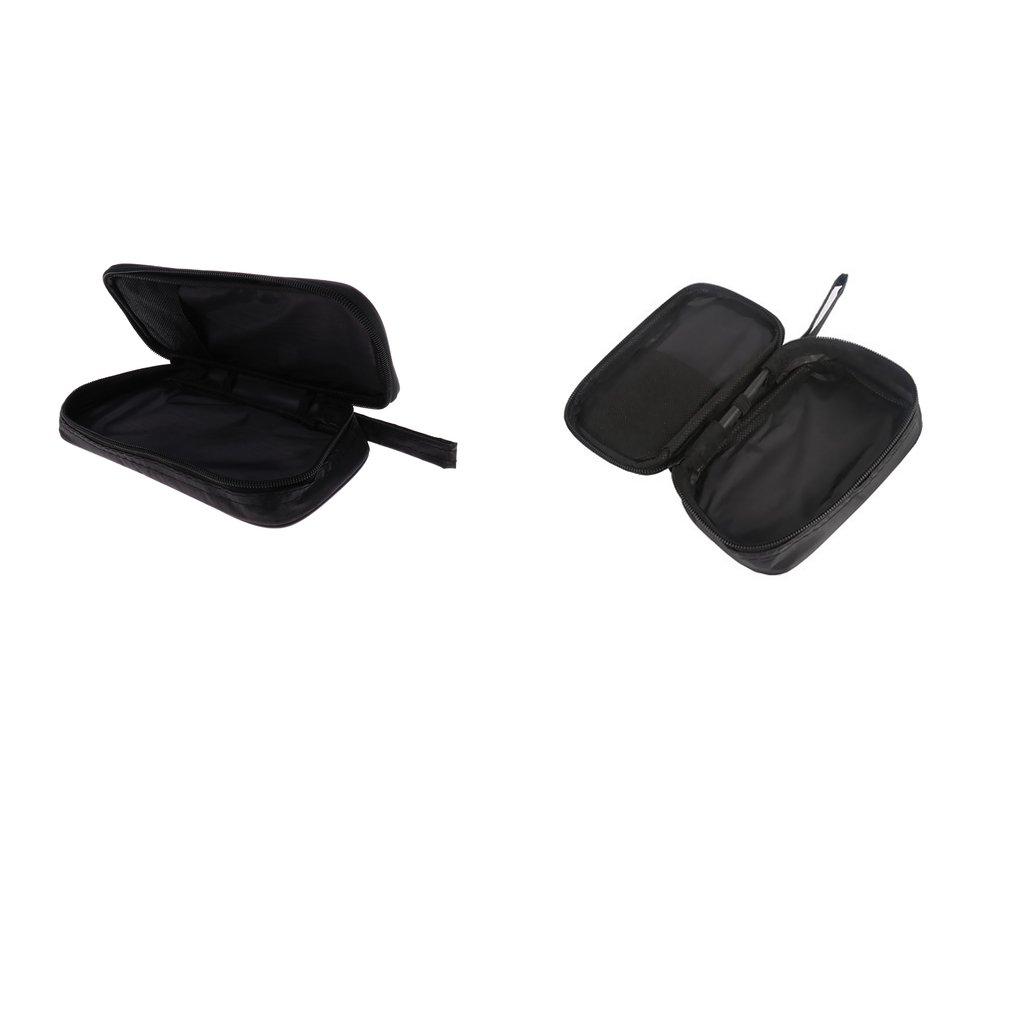 Homyl 2pcs Multimeter Carry Case Nylon Bag Zipper Pouch Black EM201 202 Medium M+L