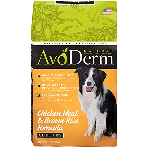 AvoDerm Natural Chicken Meal & Brown Rice Formula Dry Dog Food, 30-Pound