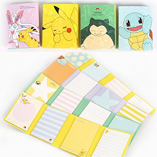 (Sticky Notes Pokemon Pikachu Design Sticker Memo Pad Bookmark Tab Note Set of 4)