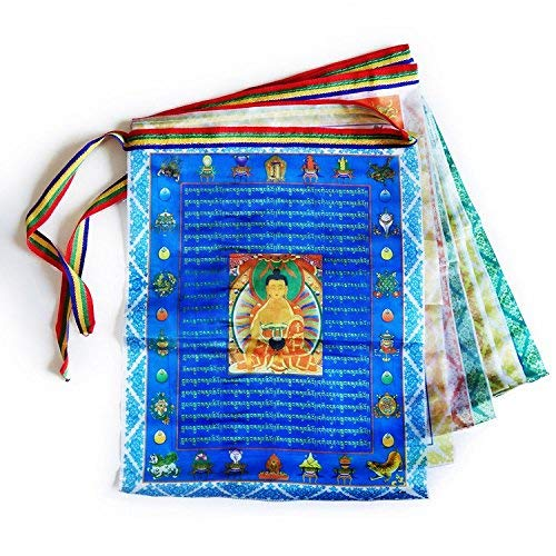 Tibetan Prayer Flags Outdoor Buddhist Meditation Flag 50pcs Satin Wind Horse Lungta Prayer Flags,11x14 inches from iShyan