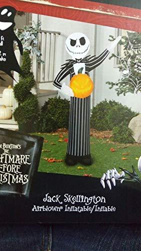 Gatton Airblown Inflatable Jack Skellington with Pumpkin Gemmy Halloween Yard Decor