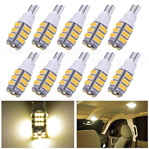 YINTATECH T10 Wedge Side Trailer 42-SMD Warm White LED Interior Light Bulbs Backup Reverse 168 192 2825 194 921 (Pack of 10)