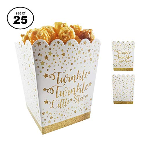 (Favor Boxes For Baby Showers And Kids Birthday Parties. Perfectly Sized Portions For All Kinds Of Party Favors & Goodie Bags, Food Grade & Easy to Assemble, 25 per set. Twinkle Theme)