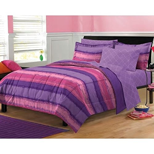 Price comparison product image Beautiful Stylish Girls Purple / Pink Tye Dye Full 7-Piece Bed In A Bag With Sheet Set Modern Stripe Bed Pattern Attractive Color Shades Ultra Soft Warm Comfortable Comforter Set Fun Addition Bedroom