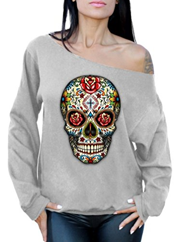 (Awkwardstyles Rose Eyes Skull Off The Shoulder Oversized Sweatshirt Sugar Skull (2XL, Gray))