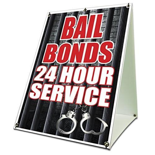 "Cheap Bail Bonds 24 Hour Service Sidewalk Frame 18""x24"" Outdoor Retail Sign Jail supplier"