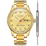 OLEVS Gold Watches for Men Waterproof Diamond...