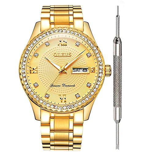 Round Shining Dial (Gold Watches for Men Waterproof Business Stainless Steel Watches Calendar Date Window Analog Quartz Watch Roman Numeral Classic Wristwatch with Luminescence Display Additional Free Battery Tools OLEVS)