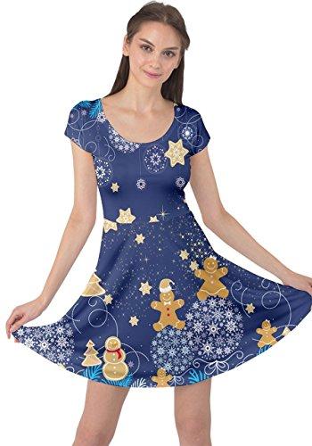 Vintage Santa Xmas Stars Dress CowCow 5XL Winter Tree Snowman Deer XS Sleeve Navy Womens Short Christmas RpUq1A