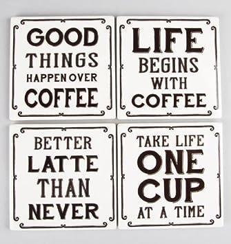 Amazon Ceramic Coffee Theme Quotes Tile Coasters Set Of 4
