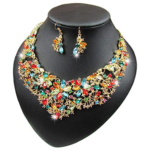 Yuhuan Women Alloy and Crystal Butterfly Necklace and Earring Set Color ()