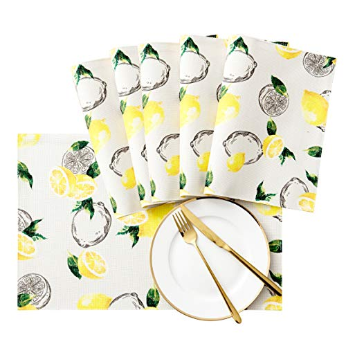 SyMax Printed Table Placemats Waterproof Non-Slip Washable Holiday Placemats for Dinner Table (Lemon, 6pcs)