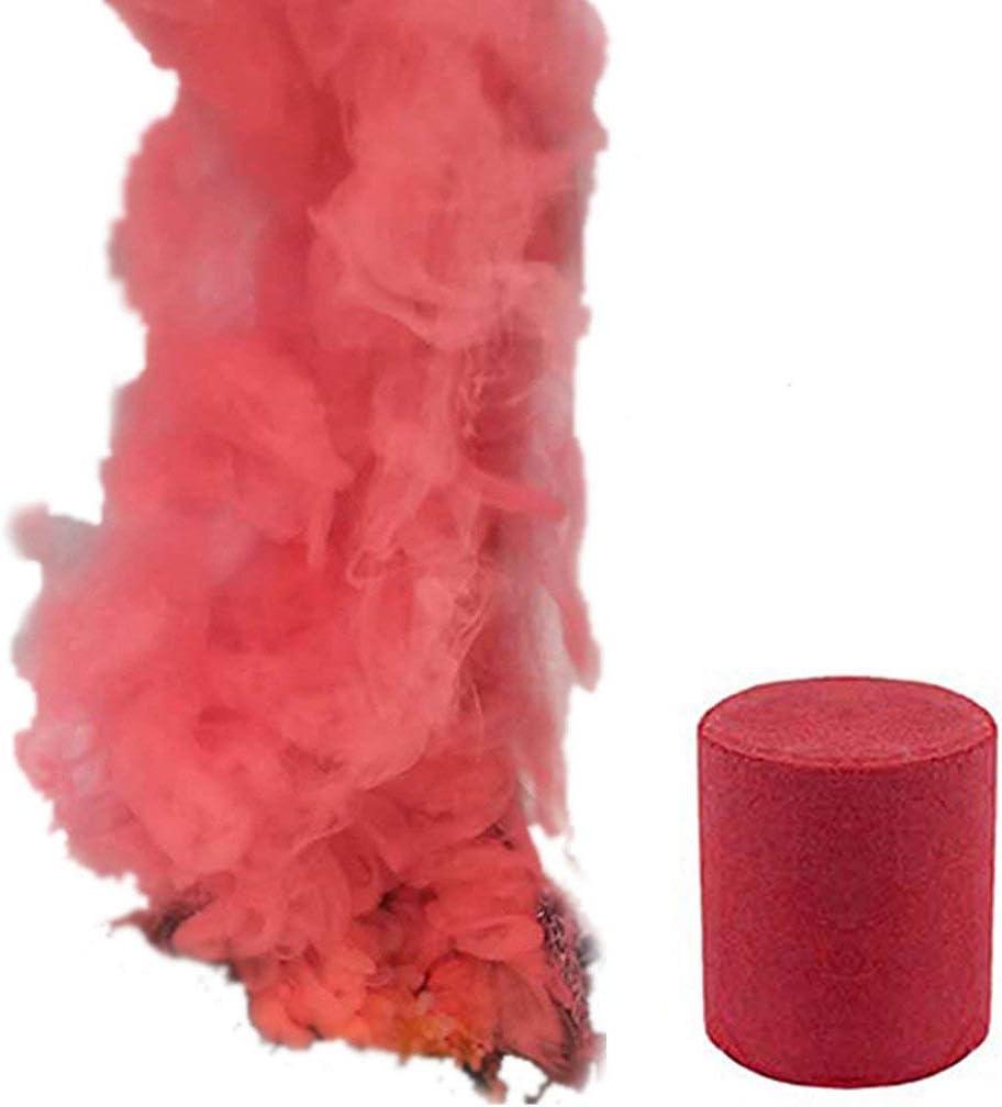 Pastel de Humo 6 Colores Redondo Accesorios de fotografía Escenario de Cine Efecto de etapa Fiesta Efecto de humo del arco iris Accesorios de tiro Necesidades de fotografia (L, Red)