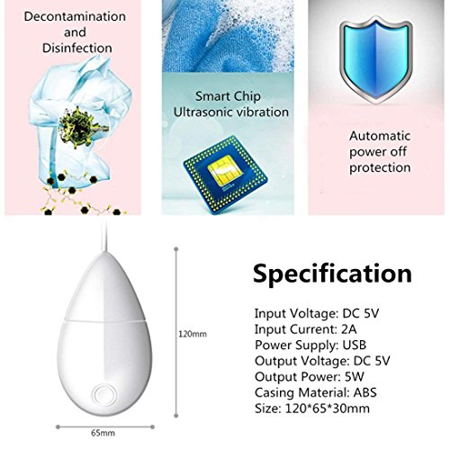 IKevan_Washers Smart Portable USB Ultrasonic Mini Washing Device Machine Fruit Cleaning Hot By (white) by IKevan_Washers (Image #5)