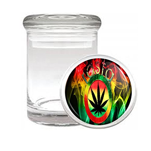 Medical Glass Stash Jar Rasta S8 Air Tight Lid 3