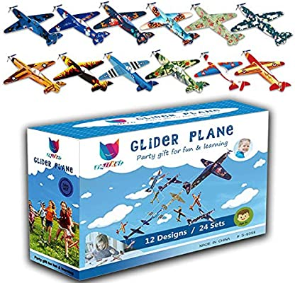 Smilkat Glider Plane Party Favors Kids Toy for Birthday Party Easy Assembly School Classroom Rewards Carnival Prizes 12 New Models 24 Pack 8 inch Flying Styrofoam Airplanes