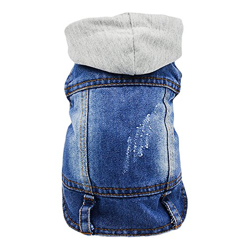 (SILD Pet Clothes Dog Jeans Jacket Cool Blue Denim Coat Small Medium Dogs Lapel Vests Classic Hoodies Puppy Blue Vintage Washed Clothes)
