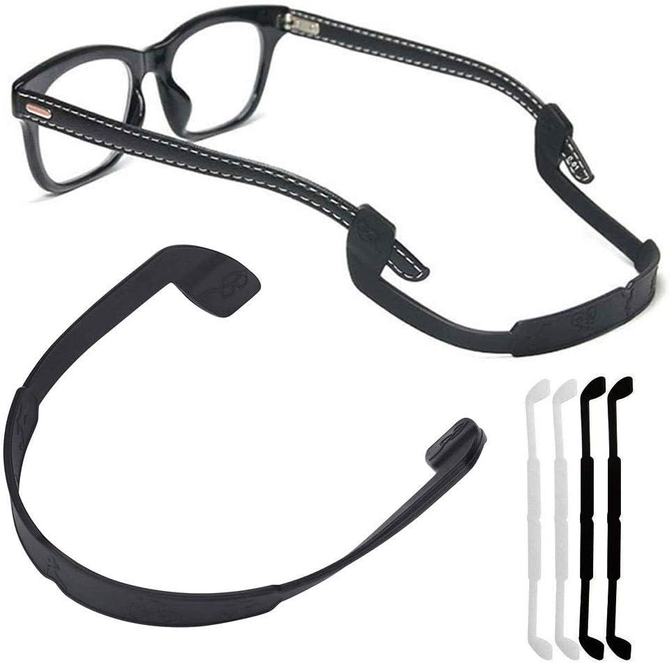 [4 unidades/paquete] Correa de silicona para anteojos retenedores de anteojos deportivos, antideslizante, elástico, soporte para gafas de sol, para hombres y mujeres, protección de ojos