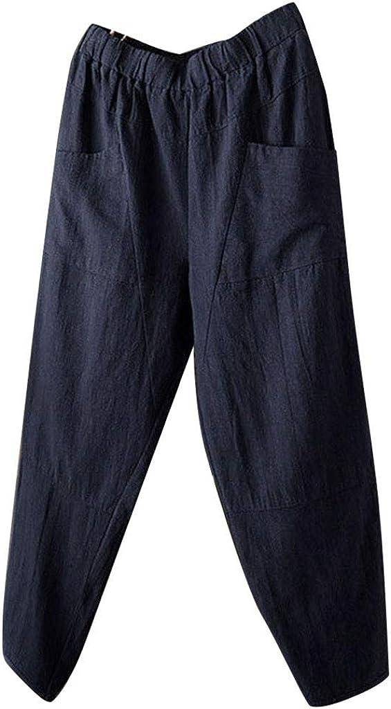 RTYou Long Linen Pants for Men Casual Baggy Yoga Capri Pocket Lounge Harem Pants Beach Long Shorts