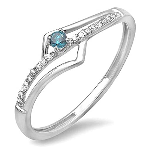 bb511bd6c23ce Amazon.com: Dazzlingrock Collection 0.10 Carat (ctw) 14k Round Blue ...