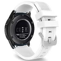MoKo Gear S3 Frontier /Correa de reloj clásico, Correa deportiva de reemplazo de silicona suave para Samsung Gear S3 Frontier /S3 Classic /Galaxy Watch 46mm /Moto 360 2da generación de 46mm Smart Watch, blanco