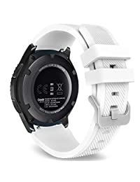 Gear S3 Frontier / Classic Watch Band, MoKo Soft Silicone Replacement Sport Strap for Samsung Gear S3 Frontier / S3 Classic / Moto 360 2nd Gen 46mm Smart Watch, NOT FIT S2 & S2 Classic & Fit2, WHITE