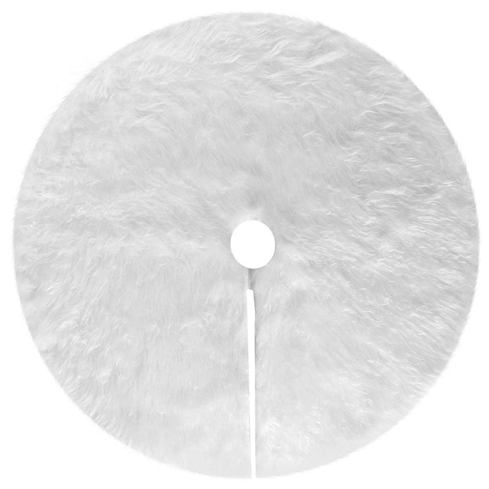 LLY Snowy White Christmas Tree Skirt for Christmas Decorations (48 inches)