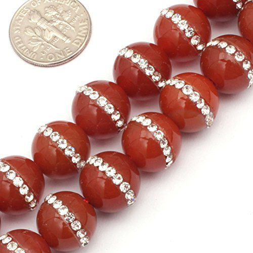 """GEM-inside Red Agate Gemstone Loose Beads Natural 12mm Round with Rhinestones Crystal Energy Stone Power for Jewelry Making 15"""""""