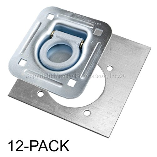 Recessed D-Ring 6,000 lb. Cap. Tiedown w/ Backing Plate - 12 pack by Mackie Ent Inc