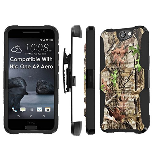 Htc [One A9] Armor Case [SlickCandy] [Black/Black] Heavy Duty Defender [Holster] [Kick Stand] - [Hunter Tree Camouflage] for Htc One [A9 Aero]