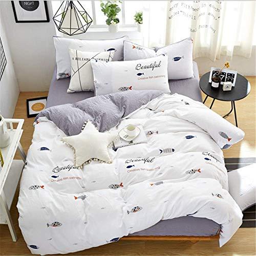 SSHHJ Cotton Bedding Set Queen King Size Girls Duvet Cover Linen Set Decorative Pillowcase D 200x230cm