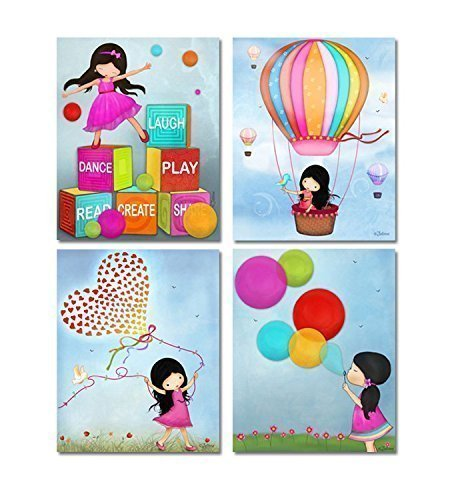 Kids Playroom Wall Pictures Colorful Girls Room Art Posters for Children's Space Unframed Set of 4 Prints 8