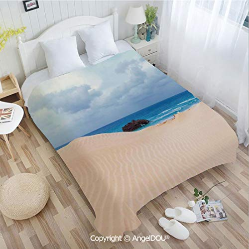 AngelDOU Printed Blanket Soft Quilt Bed Throws W59 xL78 Boat Crash by Exotic Tropical Beach in African Shore Dream Atlantic Ocean Photo Bed Cover Air Condition ()