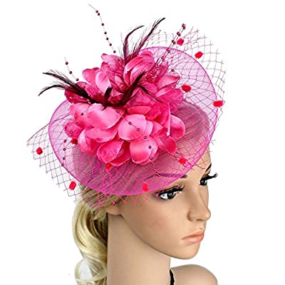 Song Qing Net Mesh Flower Veil Feather Fascinator Hat Hair Clip Wedding Church Party Headpiece