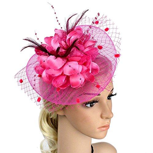 ACTLATI Charming Big Flower Headband Netting Mesh Hair Band Cocktail Hat Party Girls Women Fascinator Rose Red