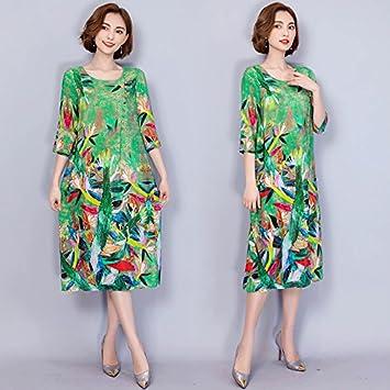 XIU*RONG Un Vestido De Seda Con Un Largo Medio Suelto Vestido De Seda De
