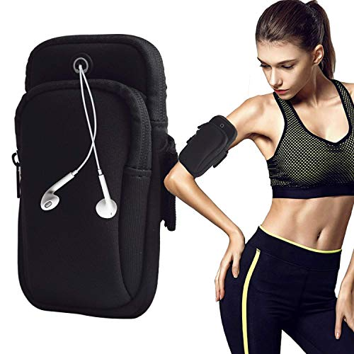 August Sport Running Arm Bag, Outdoors Double Pouch Armband Holder fit All Below 6 Inch Cellphone for Exercise (S2 Sports Armband)