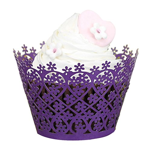 AutumnFall(TM) 50pc Cupcake Wrapper Liner Baking Cup Through Flowers Muffin Lace Laser Cut Baking Cup Muffin (Purple)