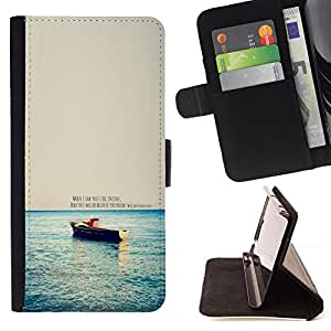 Jordan Colourful Shop - love quote boat ocean sea nature morning For Apple Iphone 5C - < Leather Case Absorci????n cubierta de la caja de alto impacto > -