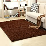 LOCHAS Soft Indoor Modern Area Rugs Fluffy Living Room Carpets Suitable for Children Bedroom Decor Nursery Rugs 4 Feet by 5.3 Feet (Brown)