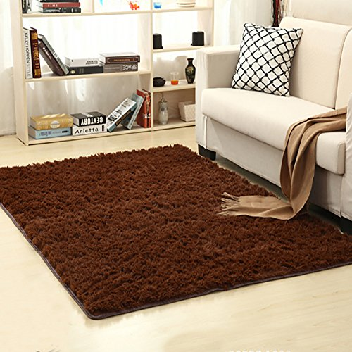 LOCHAS Soft Indoor Modern Area Rugs Fluffy Living Room Carpets Suitable for Children Bedroom Decor Nursery Rugs 4 Feet by 5.3 Feet (Coffee)