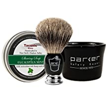 Parker Shave set Apothecary Mug. Pure Badger Brush & Taconic Shave Eucalyptus Mint Soap