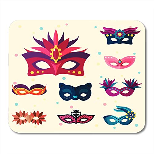 JTNF Mouse Mat, Mouse Pads Ball Colorful Gras Authentic Venetian Carnival Face Masks Party Masquerade White Mardi Bright Mouse mats Mouse pad Suitable for Notebook Desktop -