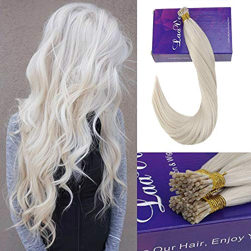 LaaVoo 18Inch 100% Human Hair Extensions Platinum Blonde I Tips Hair Extension Beads Remy Human Hair For Women 50s/50g -