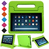 "MENZO Case for All-New HD 8 2018/2017 - Shockproof Convertible Handle Light Weight Protective Stand Cover Kids Case for HD 8"" (2017 and 2018 Releases) Tablet, Green"